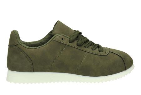 Casual damessneakers | Comfortabele sneakers met een trendy tijdloos design legergroen