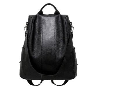Anti-diefstal rugzak en schoudertas in één | Multifunctionele lederlook tas zwart