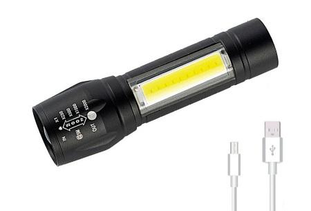 Oplaadbare militaire zaklamp 1 + 1 gratis | Met extreem fel LED-licht & 2000x zoom