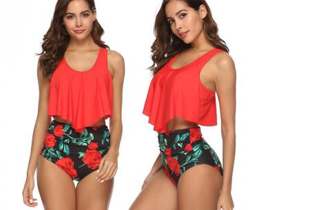Highwaist bikini in 11 uitvoeringen | Flatterende bikini met hoog broekje en layered top G