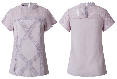 Lace top | Stijlvol damesshirt met kanten details violet taupe