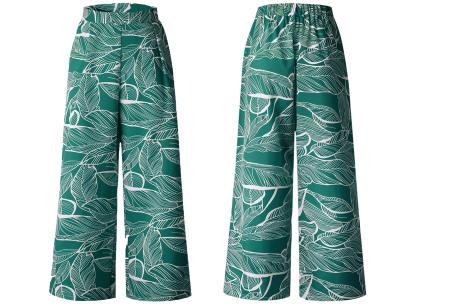 Tropical comfy broek | Luchtige zomerbroek met wijde pijpen en tropische print groen