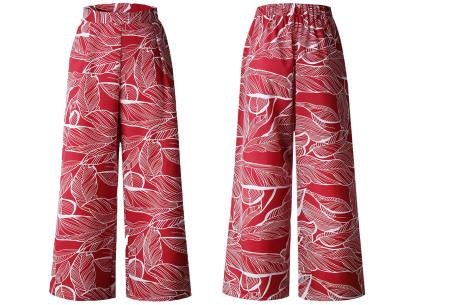 Tropical comfy broek | Luchtige zomerbroek met wijde pijpen en tropische print rood