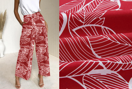 Tropical comfy broek | Luchtige zomerbroek met wijde pijpen en tropische print