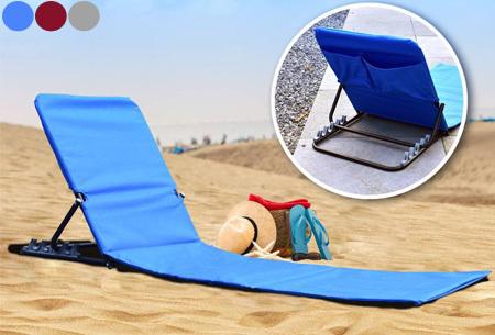 Vouwbare strandmat nu super voordelig <br/>EUR 19.99 <br/> <a href='https://tc.tradetracker.net/?c=24550&m=1018048&a=321771&u=https%3A%2F%2Fwww.vouchervandaag.nl%2Fvouwbare-strandmat-strandbed-strandstoel' target='_blank'>Bekijk de Deal</a>