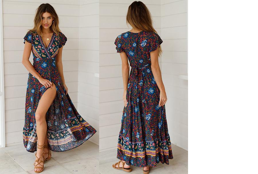 Ibiza maxi jurk Maat L - #1 Zwart blauw