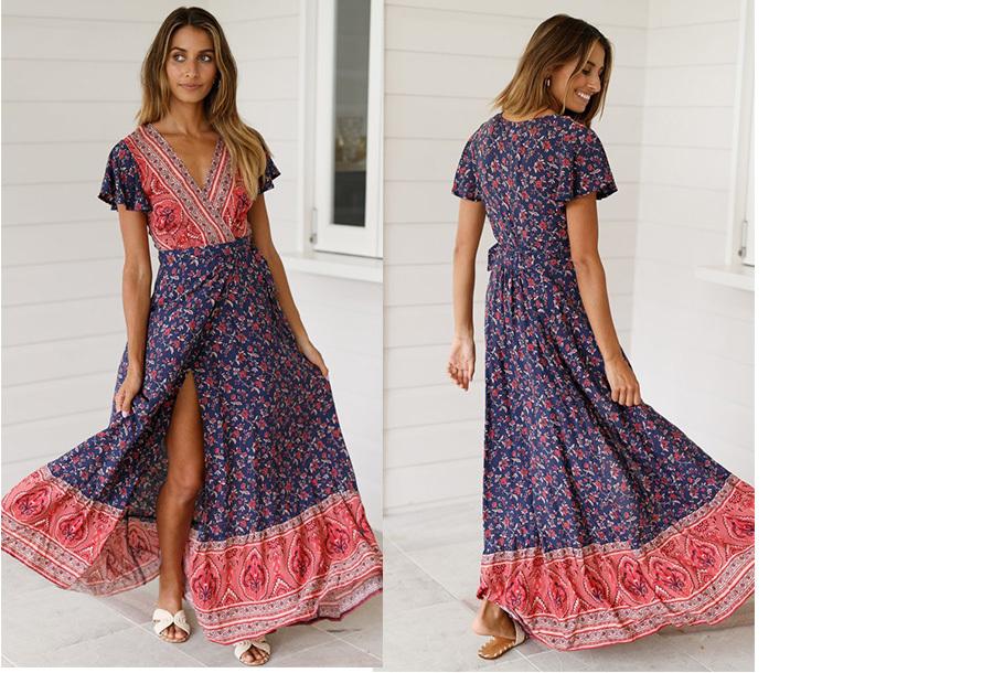 Ibiza maxi jurk Maat S - #2 Blauw rood