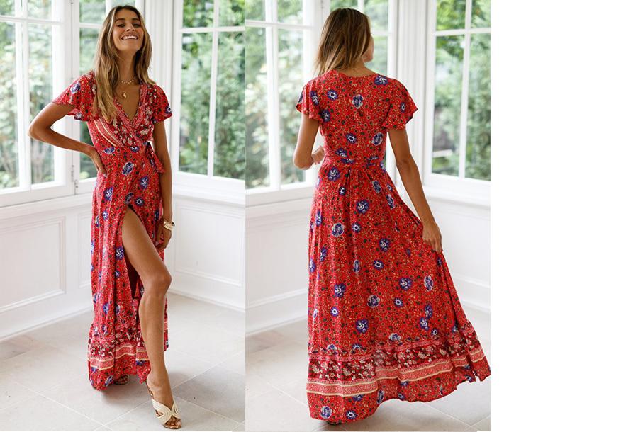 Ibiza maxi jurk Maat XL - #5 Rood blauw