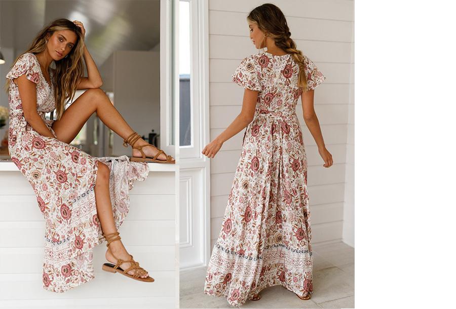 Ibiza maxi jurk Maat L - #7 Cr�me rood