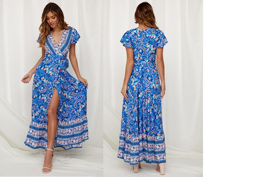 Ibiza maxi jurk Maat XL - #8 Helderblauw