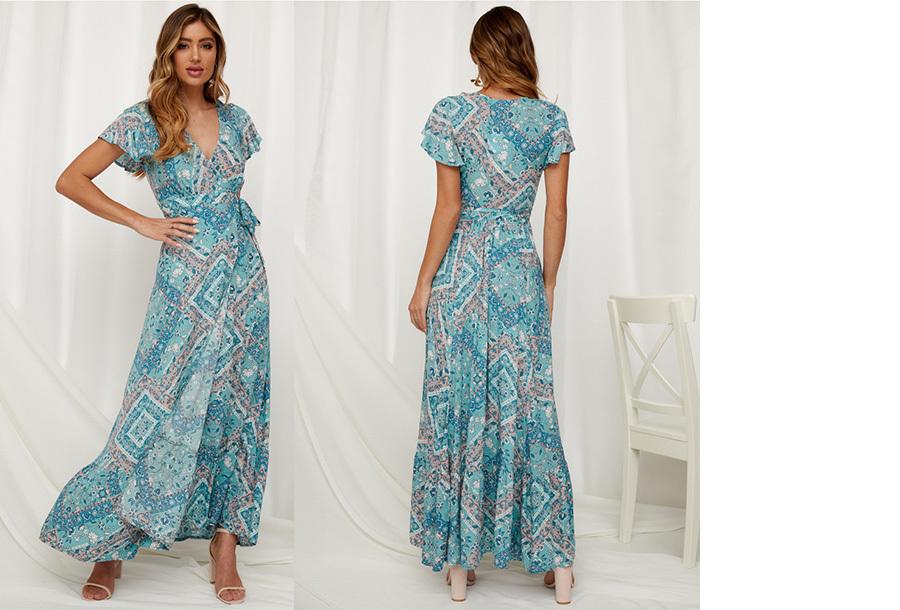Ibiza maxi jurk Maat L - #9 Blauw groen