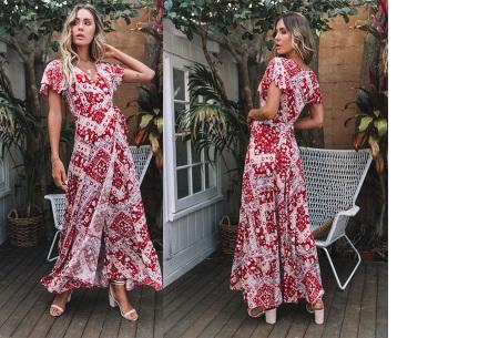 Ibiza maxi jurk | Verkrijgbaar in maar liefst 10 verschillende prints #10 Rood wit