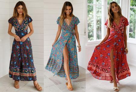 Maxi jurk voor dames | Overslagjurk verkrijgbaar in 10 prints
