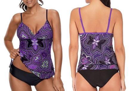 Tankini met zomerse print | De perfecte combi tussen een bikini en een badpak! paars