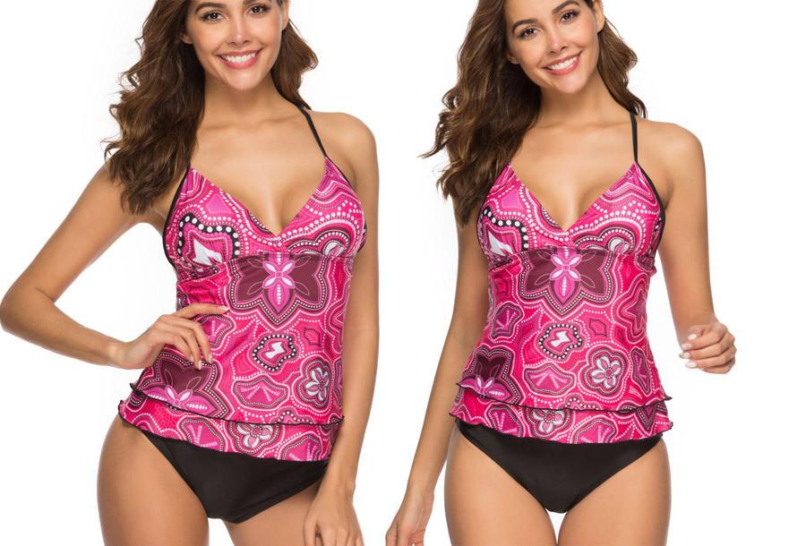 Tankini met zomerse print - Maat S - Roze