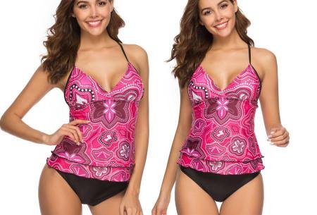 Tankini met zomerse print | De perfecte combi tussen een bikini en een badpak! roze