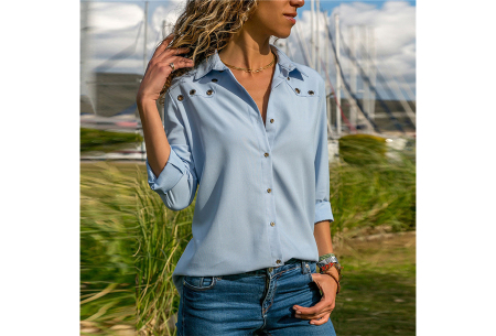 Everyday blouse   Casual blouse voor iedere dag lichtblauw
