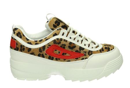 All Day sneakers | Verkrijgbaar in klassiek wit of met gave print #3 Panter/Rood