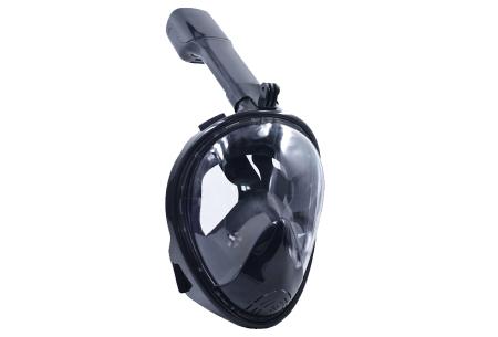Snorkelmasker met aansluiting voor GoPro | Comfortabel ademen onder water Zwart