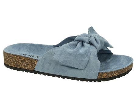 Suède look slippers met strik | Trendy sandalen voor dames met comfortabel voetbed blauw