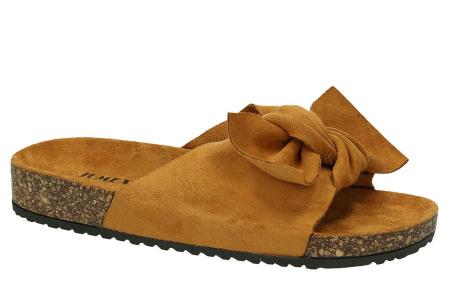 Suède look slippers met strik | Trendy sandalen voor dames met comfortabel voetbed camel