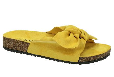 Suède look slippers met strik | Trendy sandalen voor dames met comfortabel voetbed geel
