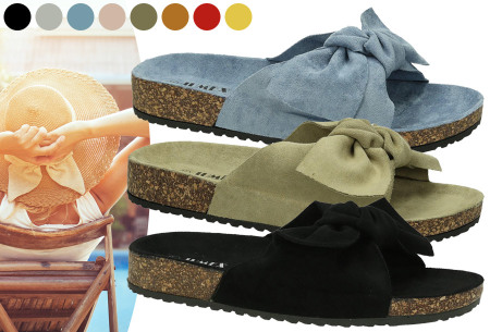 Suède look slippers met strik nu in de sale met korting