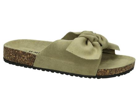 Suède look slippers met strik | Trendy sandalen voor dames met comfortabel voetbed khaki