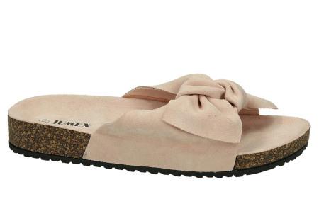 Suède look slippers met strik | Trendy sandalen voor dames met comfortabel voetbed lichtroze
