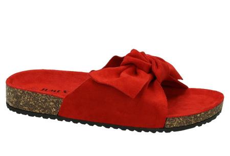 Suède look slippers met strik | Trendy sandalen voor dames met comfortabel voetbed rood
