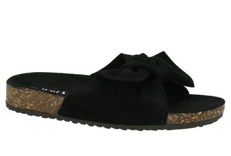 Suède look slippers met strik | Trendy sandalen voor dames met comfortabel voetbed zwart