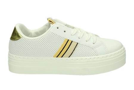 Platform sneakers | Hippe damessneakers met dikke zool Wit/geel