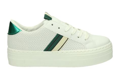 Platform sneakers | Hippe damessneakers met dikke zool Wit/groen
