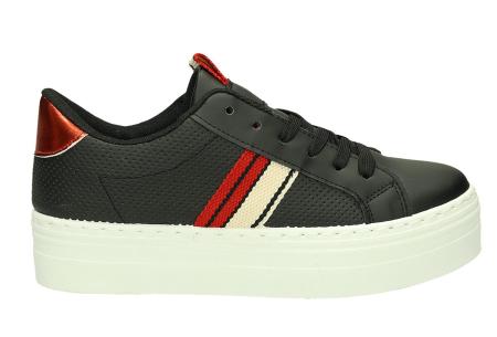 Platform sneakers | Hippe damessneakers met dikke zool Zwart