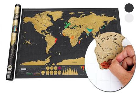 Wereld kraskaart nu enorm voordelig! <br/>EUR 9.99 <br/> <a href='https://tc.tradetracker.net/?c=24550&m=1018120&a=321771&u=https%3A%2F%2Fwww.vouchervandaag.nl%2FWereldkaart-kraskaart-muursticker-muurdecoratie-woonkamer-slaapkamer-interieur-aanbieding' target='_blank'>Bekijk de Deal</a>
