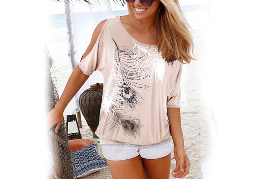Open shoulder feather shirt - Maat XL - Beige