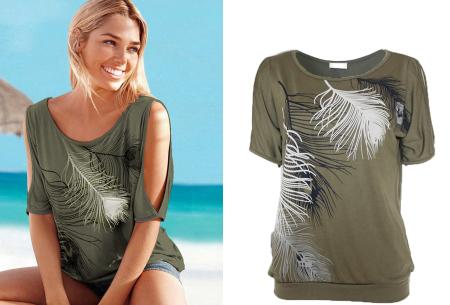Open shoulder feather shirt | Leuke en stijlvolle top voor een spotprijs Army groen