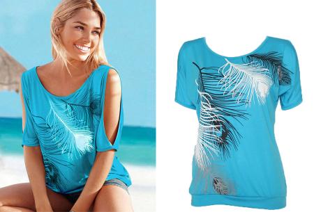Open shoulder feather shirt | Leuke en stijlvolle top voor een spotprijs Lichtblauw