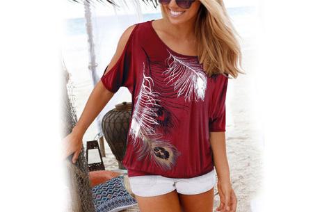 Open shoulder feather shirt | Leuke en stijlvolle top voor een spotprijs Wijnrood
