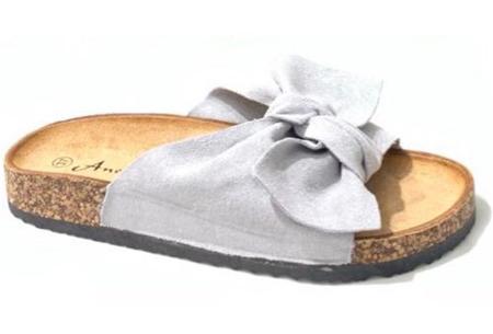 Suède look slippers met strik | Trendy sandalen voor dames met comfortabel voetbed Grijs