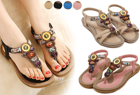 Sandalen of teenslippers met bohemian look