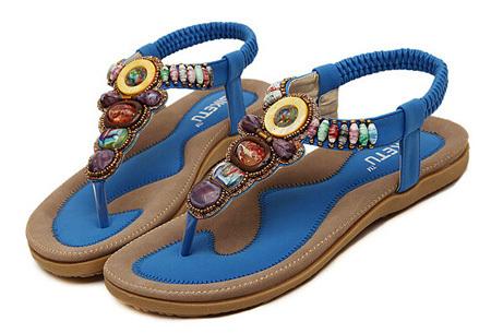 Bohemian slippers | Teenslipper of sandaal met ultra zacht voetbed  Teenslipper - Blauw