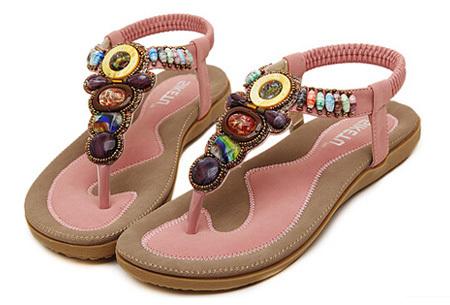 Bohemian slippers | Teenslipper of sandaal met ultra zacht voetbed  Teenslipper -Roze