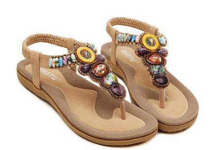 Bohemian slippers | Teenslipper of sandaal met ultra zacht voetbed  Teenslipper - Beige