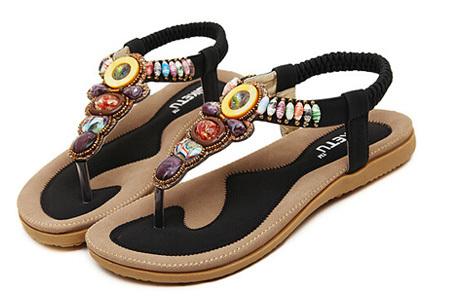 Bohemian slippers | Teenslipper of sandaal met ultra zacht voetbed  Teenslipper - Zwart