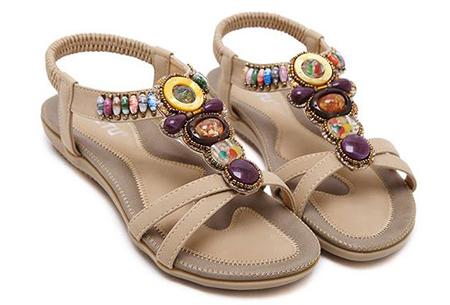 Bohemian slippers | Teenslipper of sandaal met ultra zacht voetbed  Sandaal - Beige