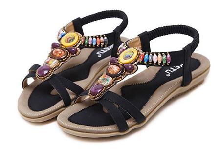 Bohemian slippers | Teenslipper of sandaal met ultra zacht voetbed  Sandaal - Zwart