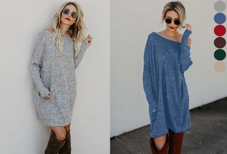 Soft sweater dress in de sale <br/>EUR 14.99 <br/> <a href='https://tc.tradetracker.net/?c=24550&m=1018105&a=230468&u=https%3A%2F%2Fwww.vouchervandaag.nl%2FSoft-sweater-dress-jurk' target='_blank'>bekijk product</a>