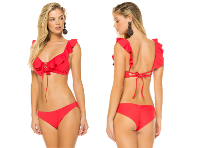 Ruffle bikini   Op 2 manieren te dragen! Rood