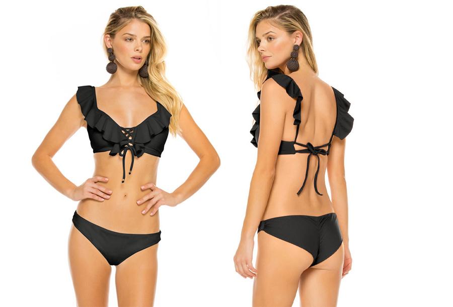 Ruffle bikini Maat Zwart - L